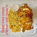 Deep fried crispy chicken with bone in