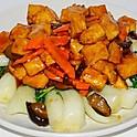Braised Tofu with Mushroom and Greens