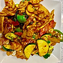Hunan Chicken (Chicken sauteed with vegetables and basil in spicy brown sauce)