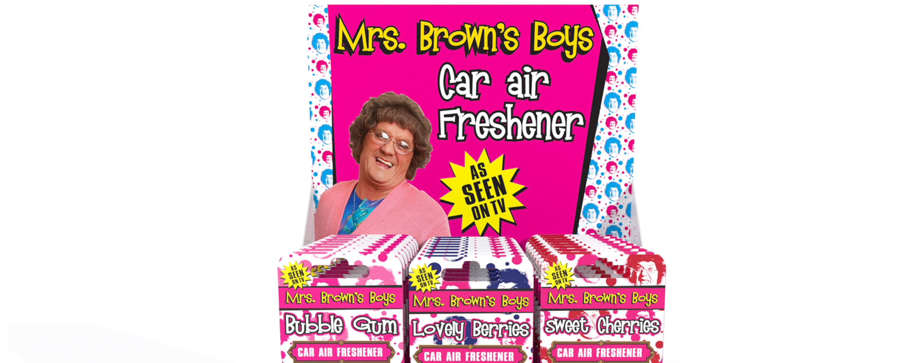 Mrs Browns Boys Air Freshener CDU Visuals printing and branding