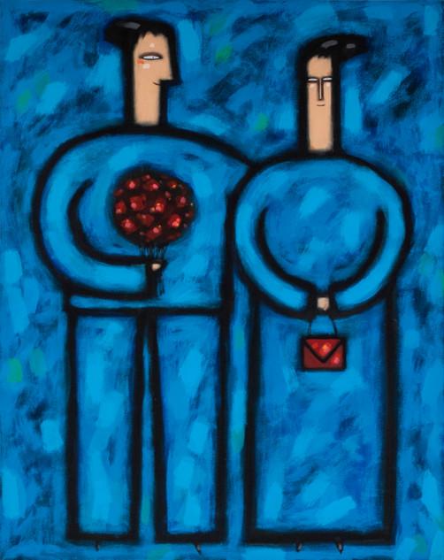 pareja azul