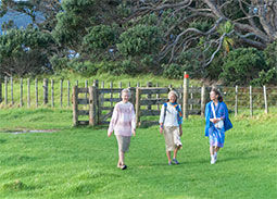 Three women walking at park in Auckland