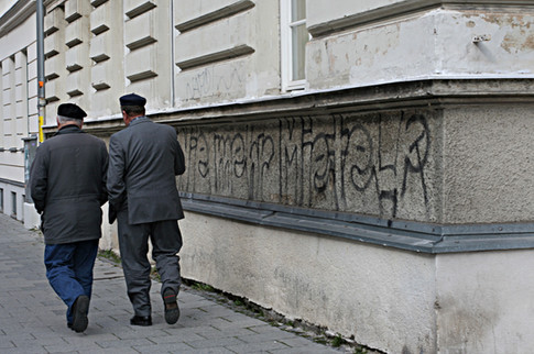 Griechen und Linke Parolen im Westend