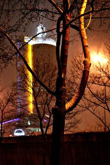 Munich Tower im Nebel an Donnersberger Brücke, Westend, München