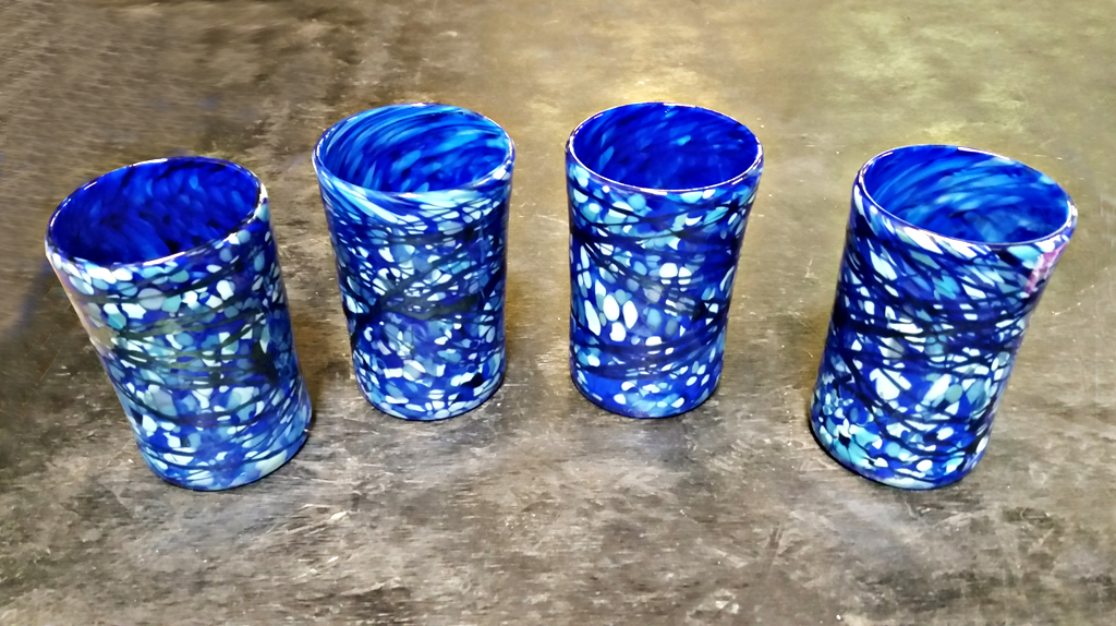 Blue Speckled Tumbler Set