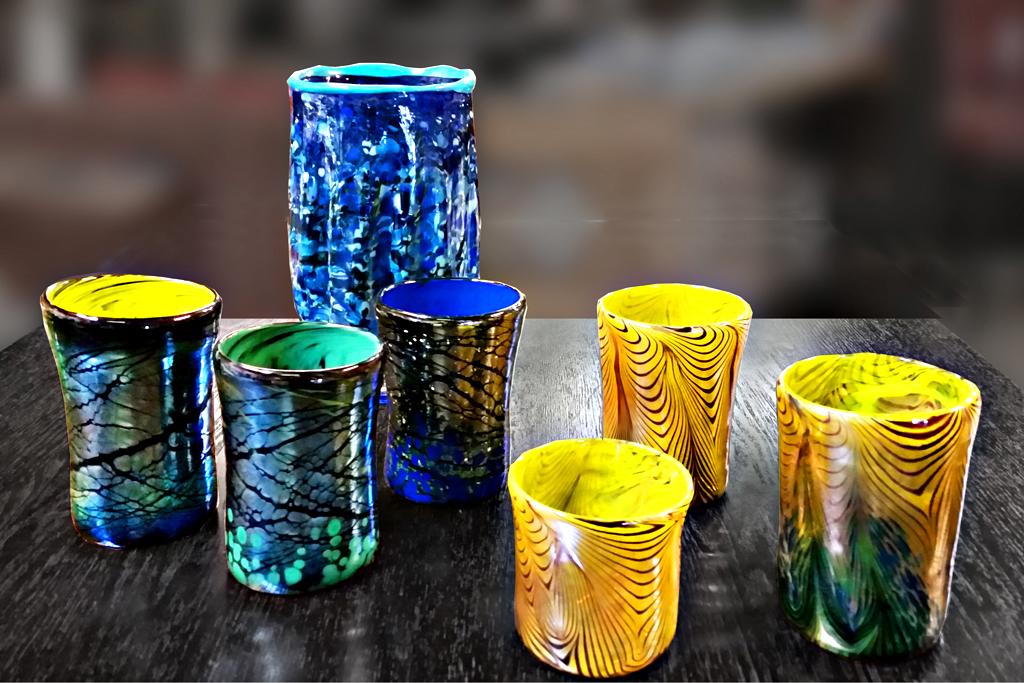 Tumbler Variety w/Blue Speckled Vase