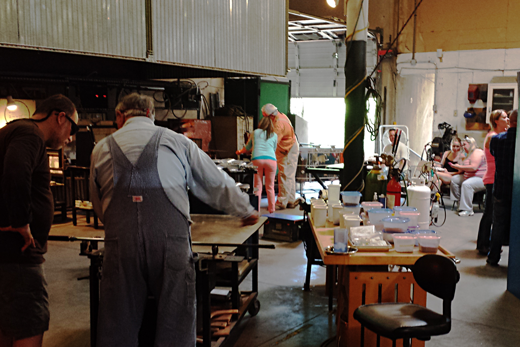 Marrs Art Glass Studio with Visitors