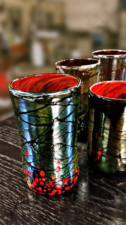 Silver Tumblers with Red Insides