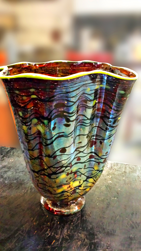 Multi-colored Wave Vase