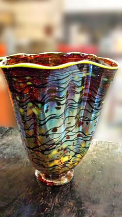 Multi-colored Wave Vase