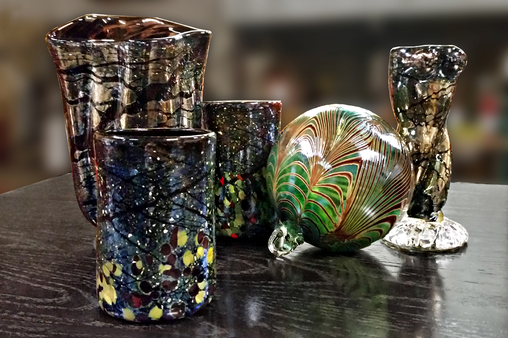Complementary Orb, Tumblers and Vase