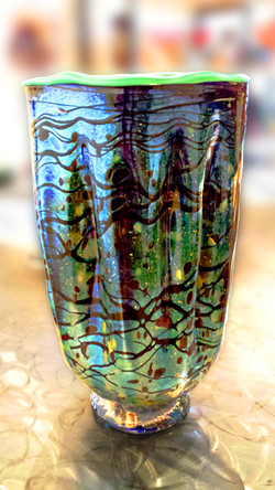 Multi-colored Ribbed Vase