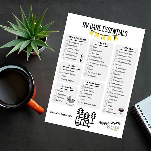 RV Bare Essentials Checklist