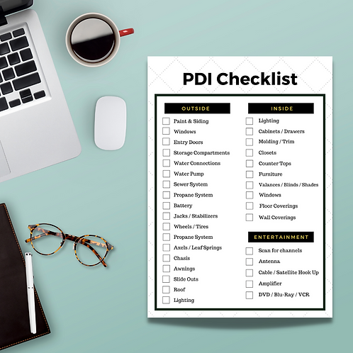 Pre-Delivery Inspection Checklist | Checklist Only