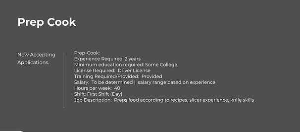 Marleys Gotham Grill - Prep Cook