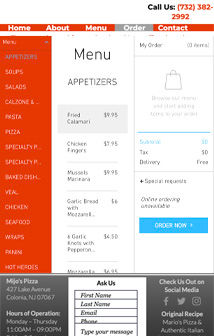 FEASTBOT Order Screen - Mijos Pizza