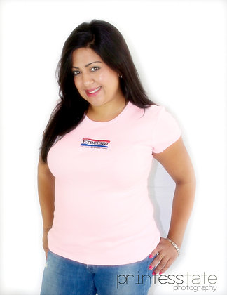 Ladies' Pink Embroidered Baby T