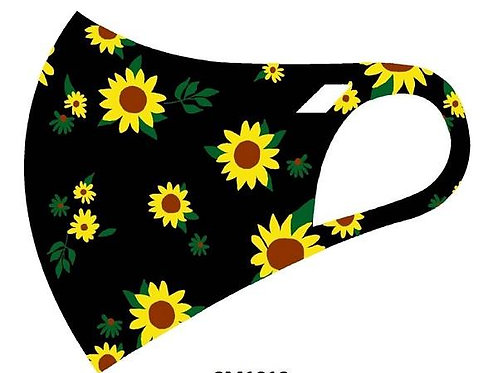 FASHION MASK  BLACK SUNFLOWER 10PCS