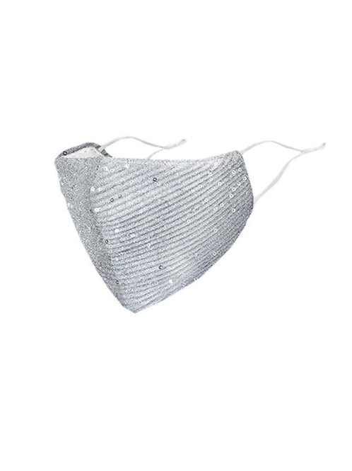 FASHION MASK SEQUIN FACE SILVER 10PCS