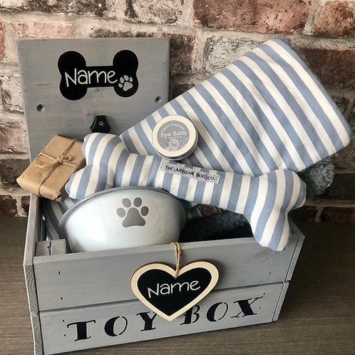 Luxury Handcrafted Personalised Dog Hamper (The Teign Collection)