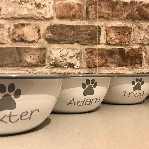 Nosh Time - Enamel Dog Paw Bowl with Grey Trim