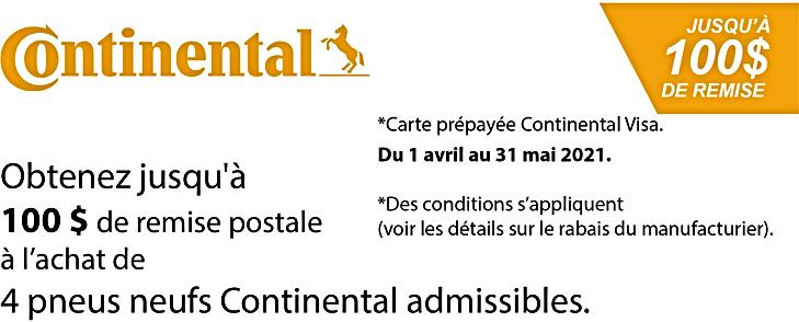 Promo printemps Continental 100$ 2021.pn