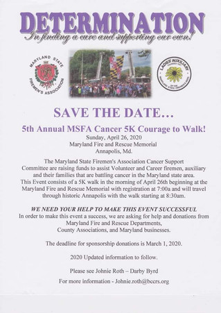 Save the Date! MSFA Cancer Walk 2020