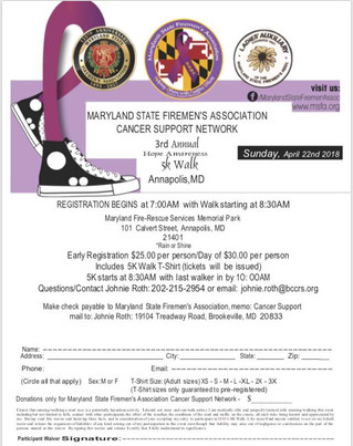 Join us for the 3rd Annual MSFA Hope Awareness 5k Walk