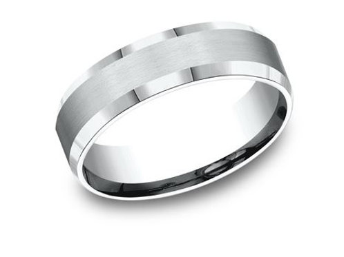 Benchmark® 6MM SATIN CENTER WITH HIGH POLISHED BEVELED EDGES MEN'S BAND SIZE8.5