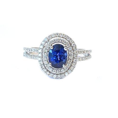 BLUE SAPPHIRE & DIAMOND DOUBLE HALO RING