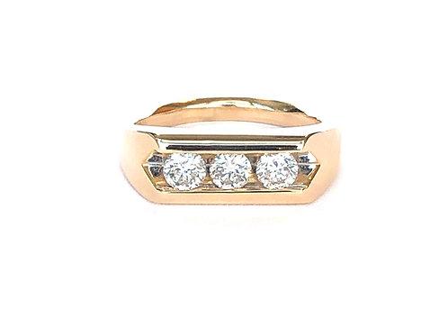 14KTYG THREE STONE DIAMOND RING