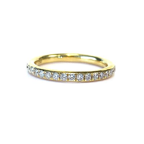18KTYG PAVE SET COMFORT FIT DIAMOND WEDDING BAND