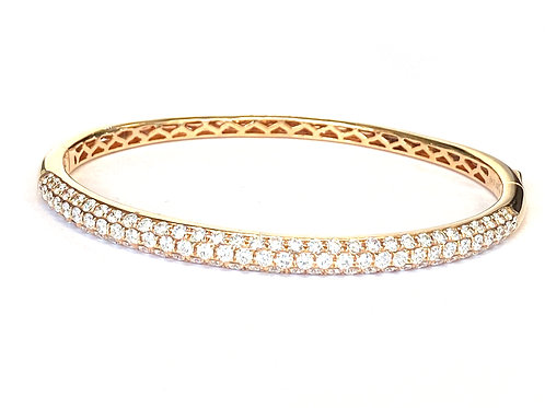 2.42CT. PAVE DIAMOND ROSE GOLD BANGLE BRACELET