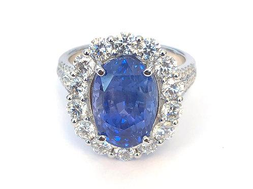 7.23CT. CEYLON SAPPHIRE & DIAMOND HALO RING