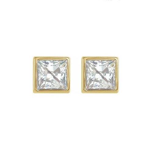 0.40CTTW. CLASSIC BEZEL DIAMOND STUD EARRINGS