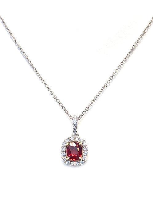 0.84CT. GIA RUBY & DIAMOND HALO PENDANT