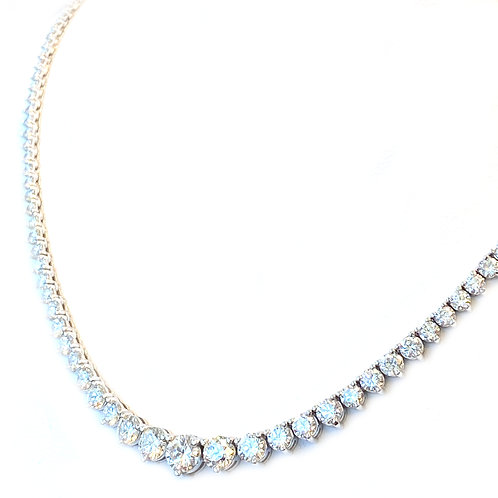 10.70CTTW. DIAMOND GRADUATED RIVIERA NECKLACE IN 14KTWG