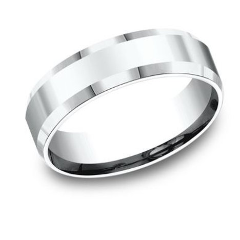 Benchmark® 6MM HIGH POLISHED WITH BEVELED EDGES MEN'S BAND SIZE9.5