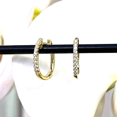 PETITE DIAMOND HOOP EARRINGS IN 18KTYG