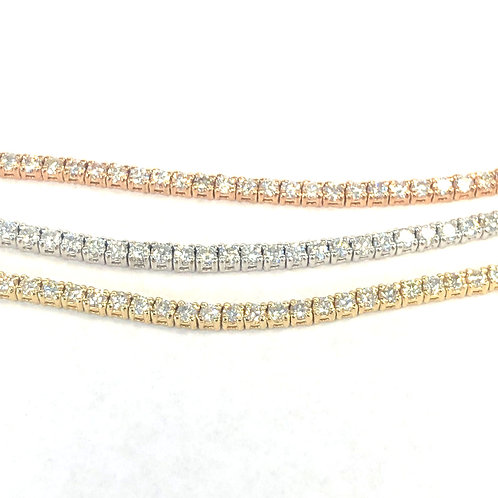 8.14CT. MULTI ROW TRI-COLOR DIAMOND TENNIS BRACELET