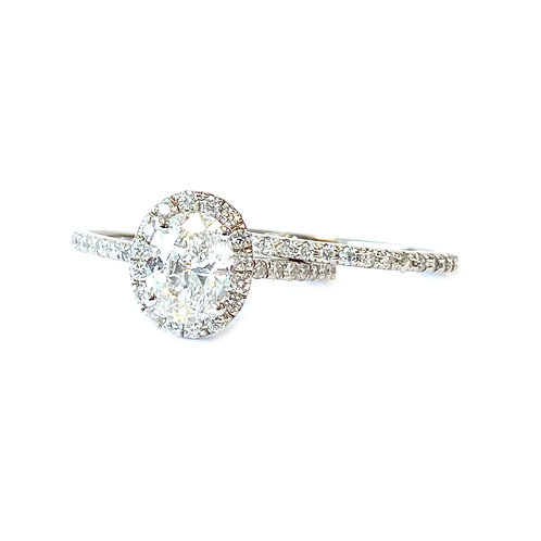 1.00CT. OVAL DIAMOND HALO WEDDING SET