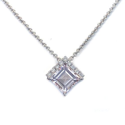 1.27CT. MORGANITE & DIAMOND 18KTWG PENDANT NECKLACE