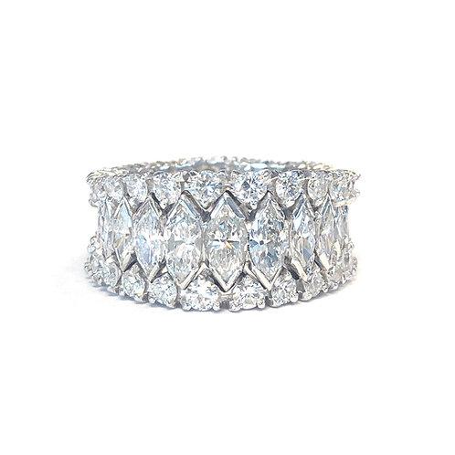 PLATINUM 5CT. MARQUISE & ROUND DIAMOND ETERNITY RING