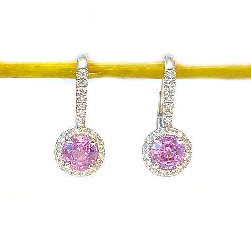 PINK SAPPHIRE & DIAMOND LEVER BACK EARRINGS