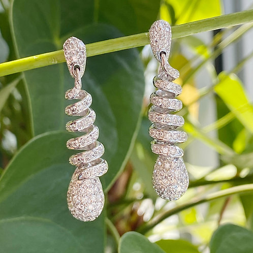 DIAMOND SWIRL DANGLE EARRINGS