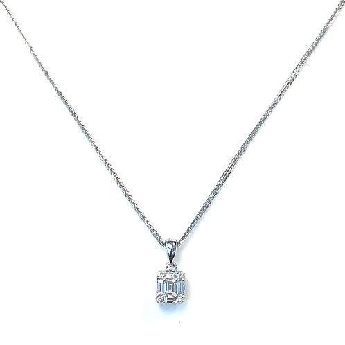 ILLUSION CLUSTER DIAMOND PENDANT NECKLACE