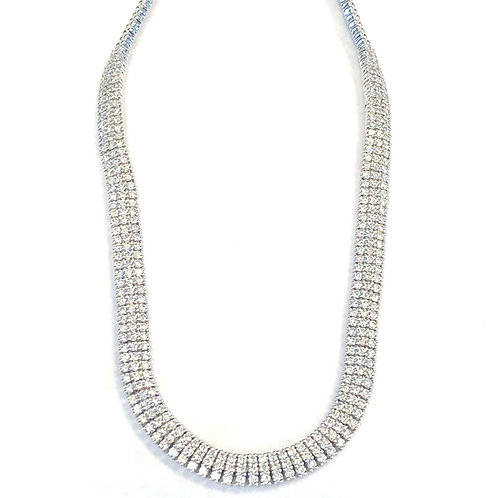 5.74CT. MULTI ROW DIAMOND TENNIS NECKLACE