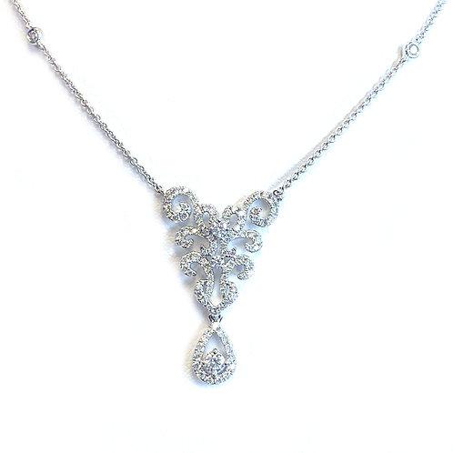FASHION 18KTWG DIAMOND FILIGREE PENDANT