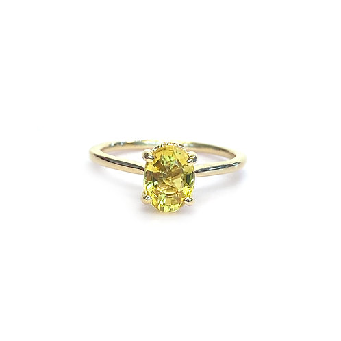 1.60CT. GIA YELLOW OVAL SHAPE SAPPHIRE RING IN 18KTYG