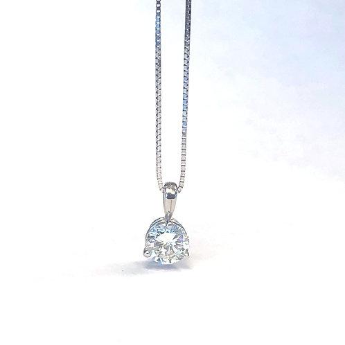 CLASSIC SINGLE BAIL THREE PRONG SOLITAIRE DIAMOND PENDANT